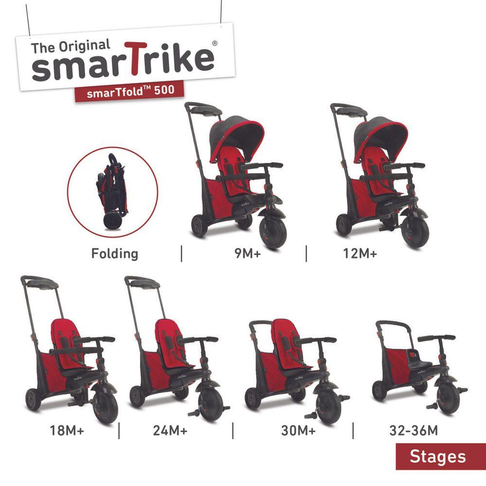 Alltoys Smart Trike Tříkolka Smart Trike 7 v 1 Smartfold 500 červená