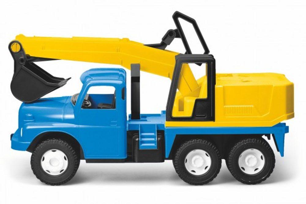 Dino Auto Tatra 148 plast 72cm Bagr na písek v krabici - modrožlutý