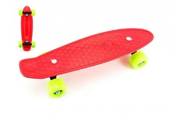 Teddies Skateboard 43cm, nosnost 60kg plastové osy, červený, zelená kola