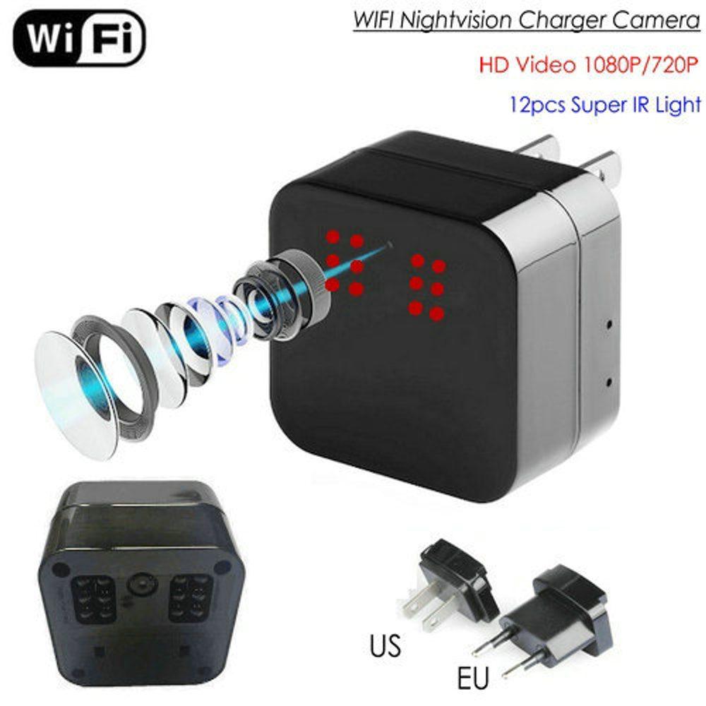 Nabíječka se skrytou kamerou HD 1080P,WiFi IP,P2P,12IR LED noční vidění