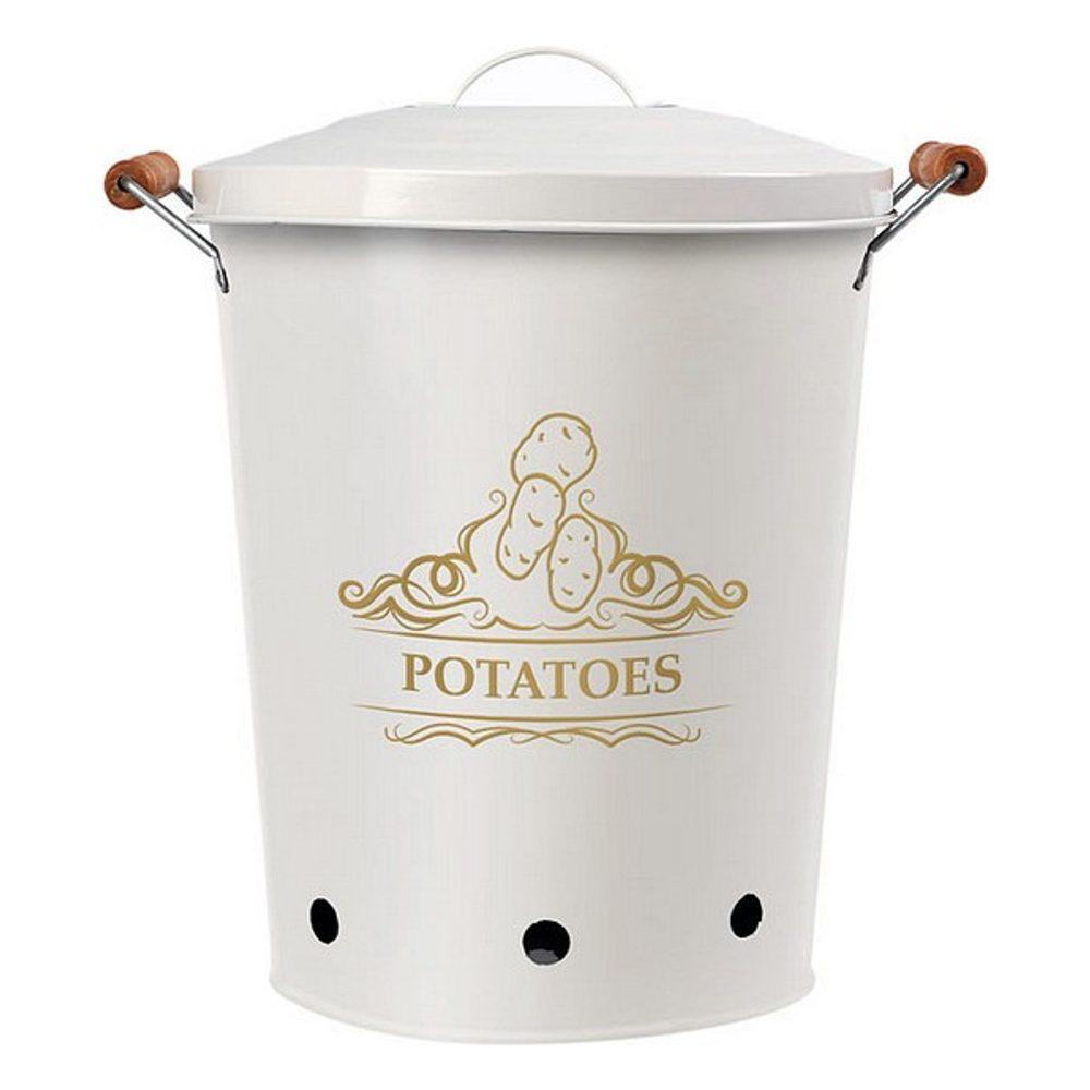 BigBuy Cooking Plechová Krabice Potatoes Bílý 111279
