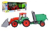 Auto Truxx traktor nakladač s přívěsem s figurkou v krabici 52x19x16cm 24m+