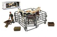 Zvířátka domácí farma plast kůň s doplňky sada 4 druhy v krabičce 43x14x10cm