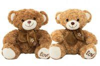 Medvěd sedící s mašlí plyš 34cm 2 barvy v sáčku 0+