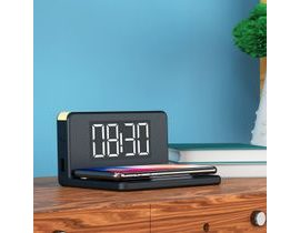 Alarm Clock with Wireless Charger Qi Černý