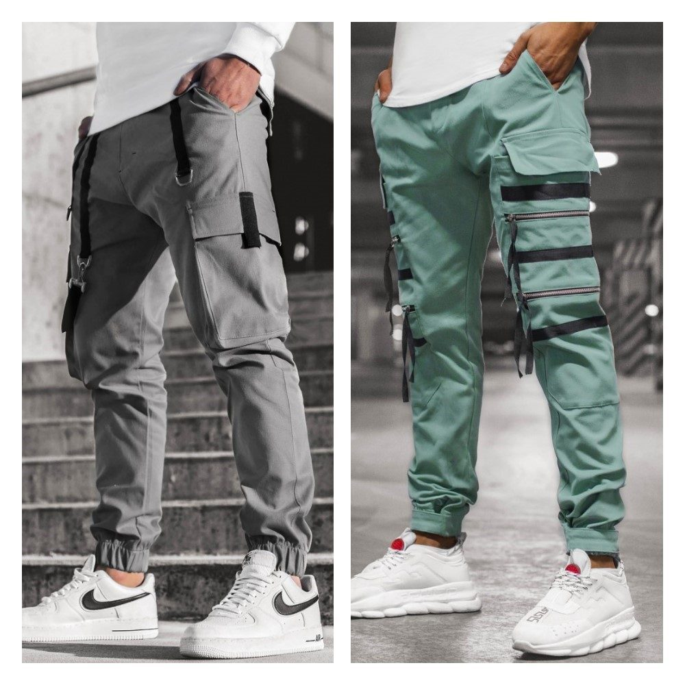 šedé a zelené cargo kalhoty