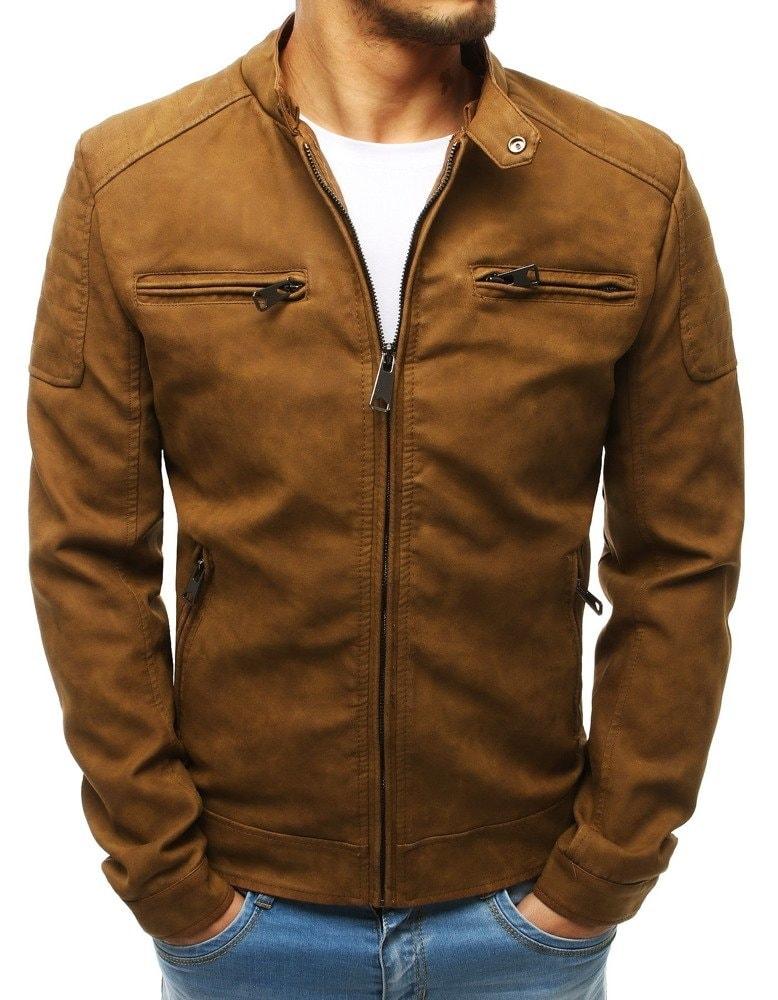 Buďchlap Béžová kožená bunda pánská