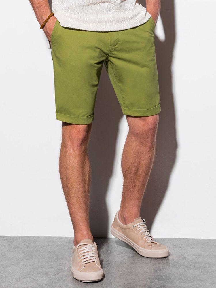 Ombre Clothing Jednoduché kraťasy v zelené barvě W243 - L