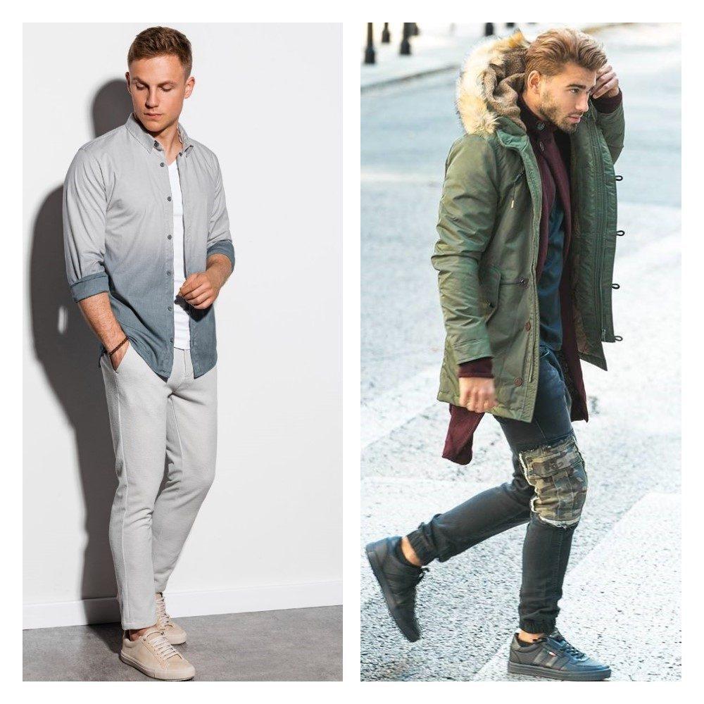 moderní pánské outfity v džínách a v chinos kalhotách
