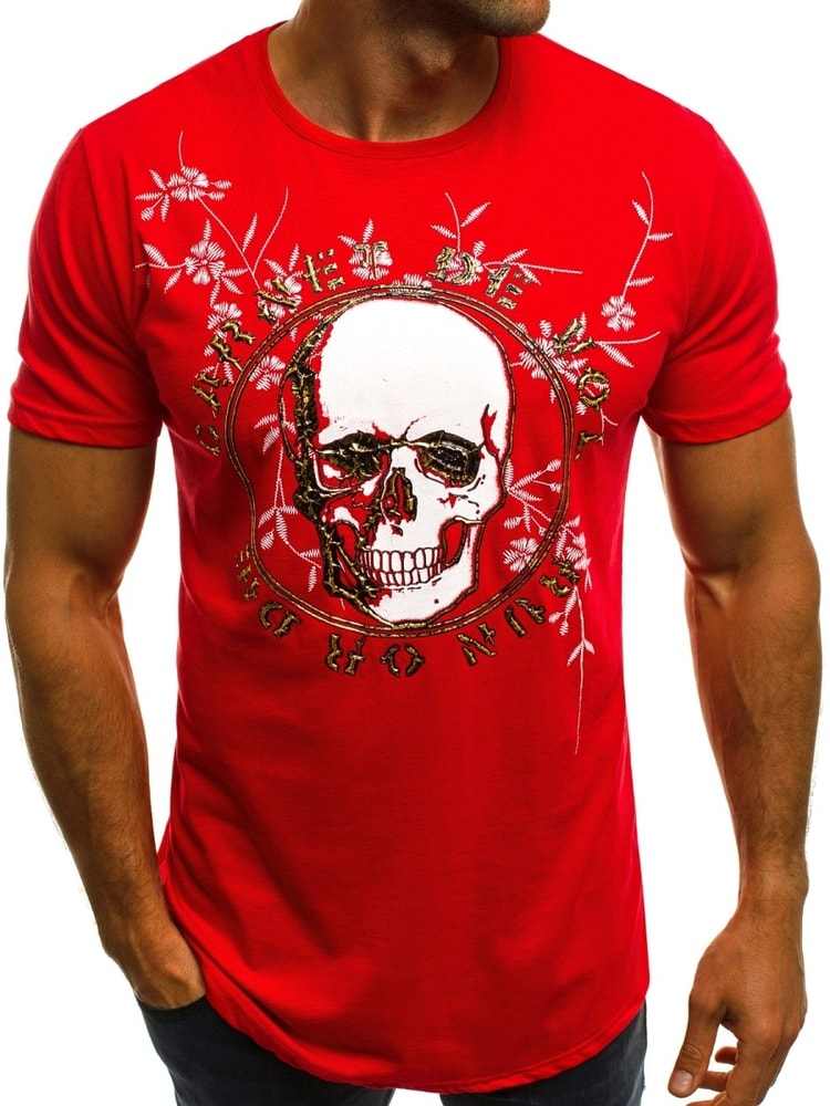 91c7acb02927 Buďchlap Červené tričko s potiskem lebky OZONEE B 181604 - S