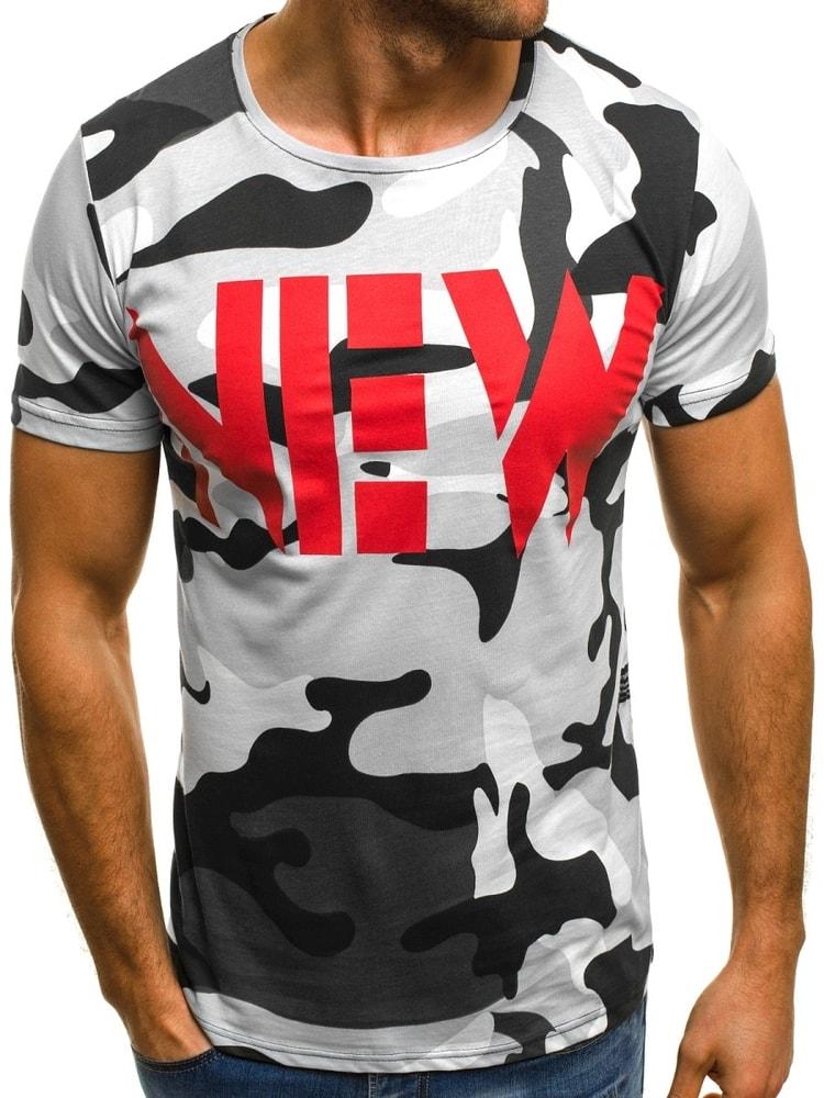 bb724109afe3 Bílé pánské maskáčové tričko NEW OZONEE MECH 2063