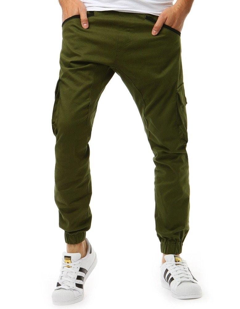 Dstreet Módní zelené jogger kalhoty - XL