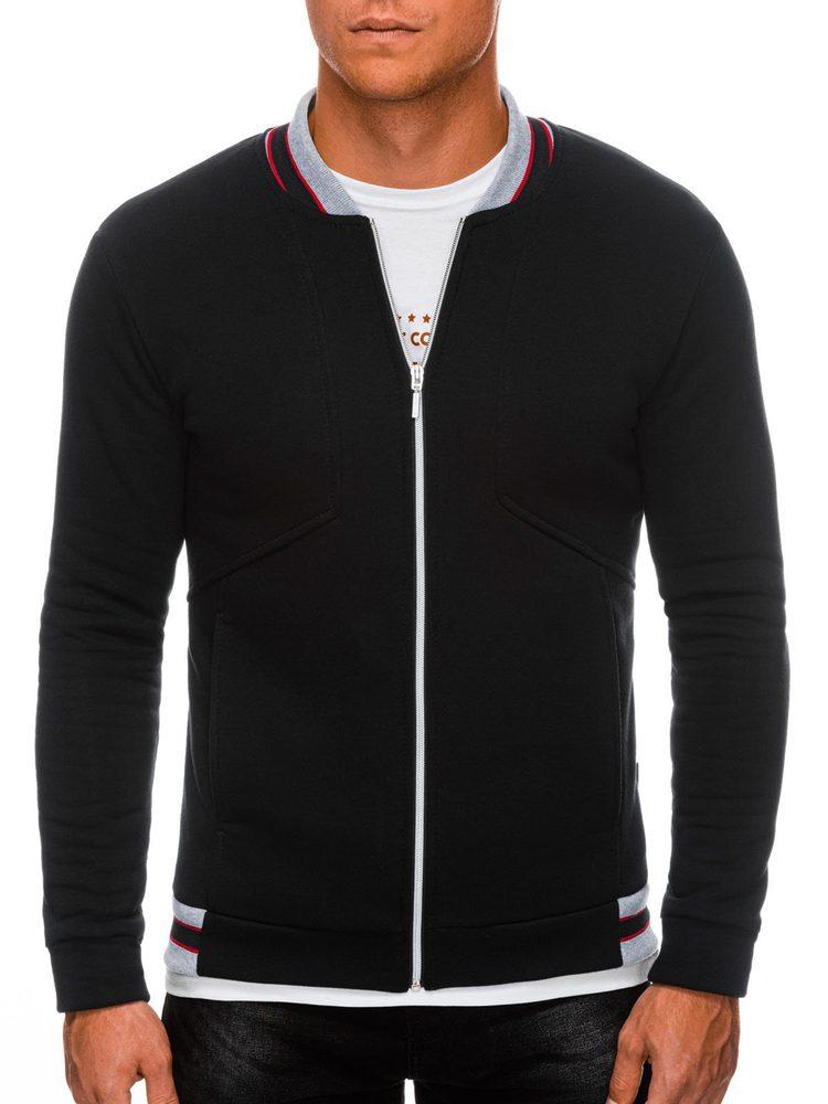 Ombre Clothing Černá mikina bez kapuce B1183