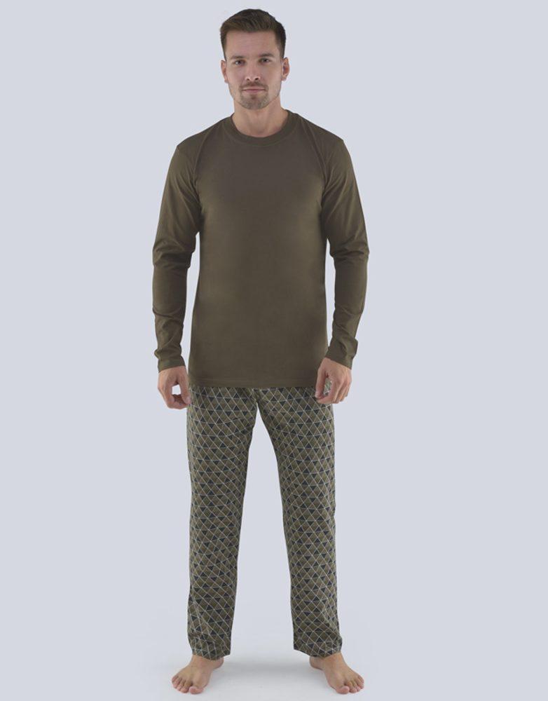 Khaki pánské pyžamo Boris - XXL