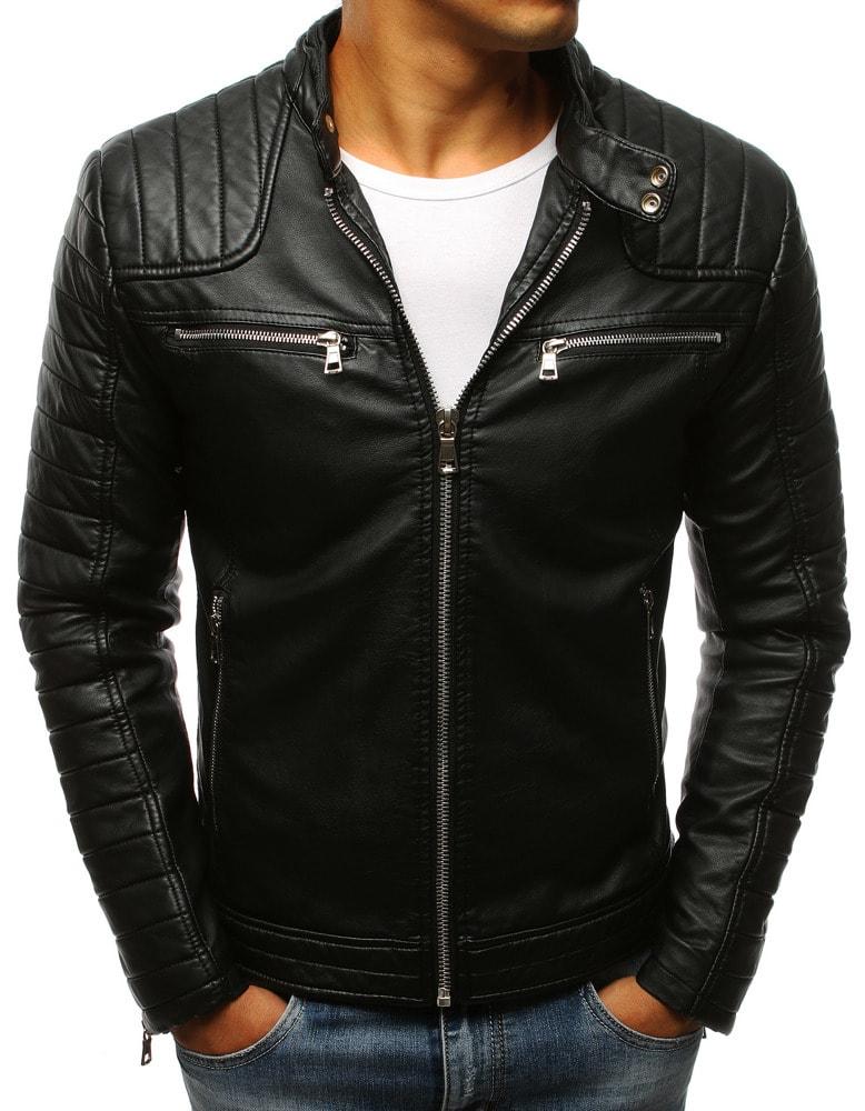 02b462f66e37 Buďchlap Fantastická černá koženková bunda s prošíváním - M