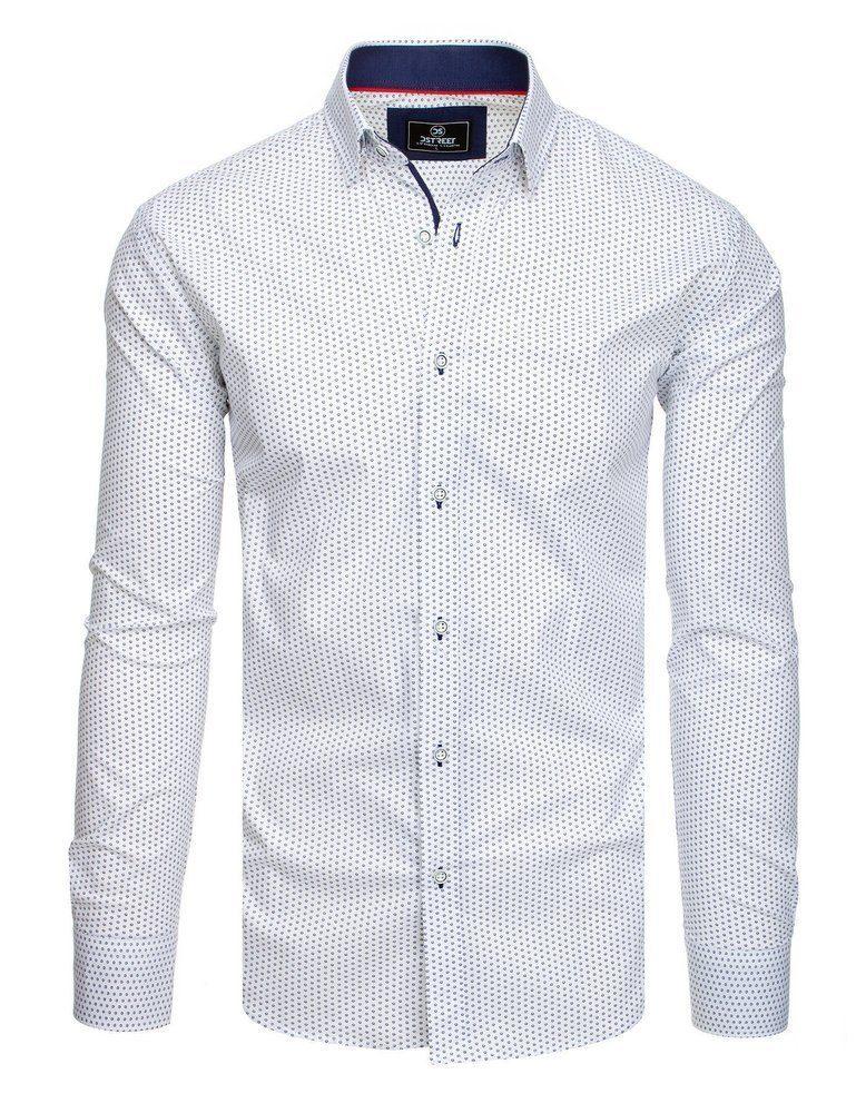 Dstreet Moderní pánská bílá košile se vzorem