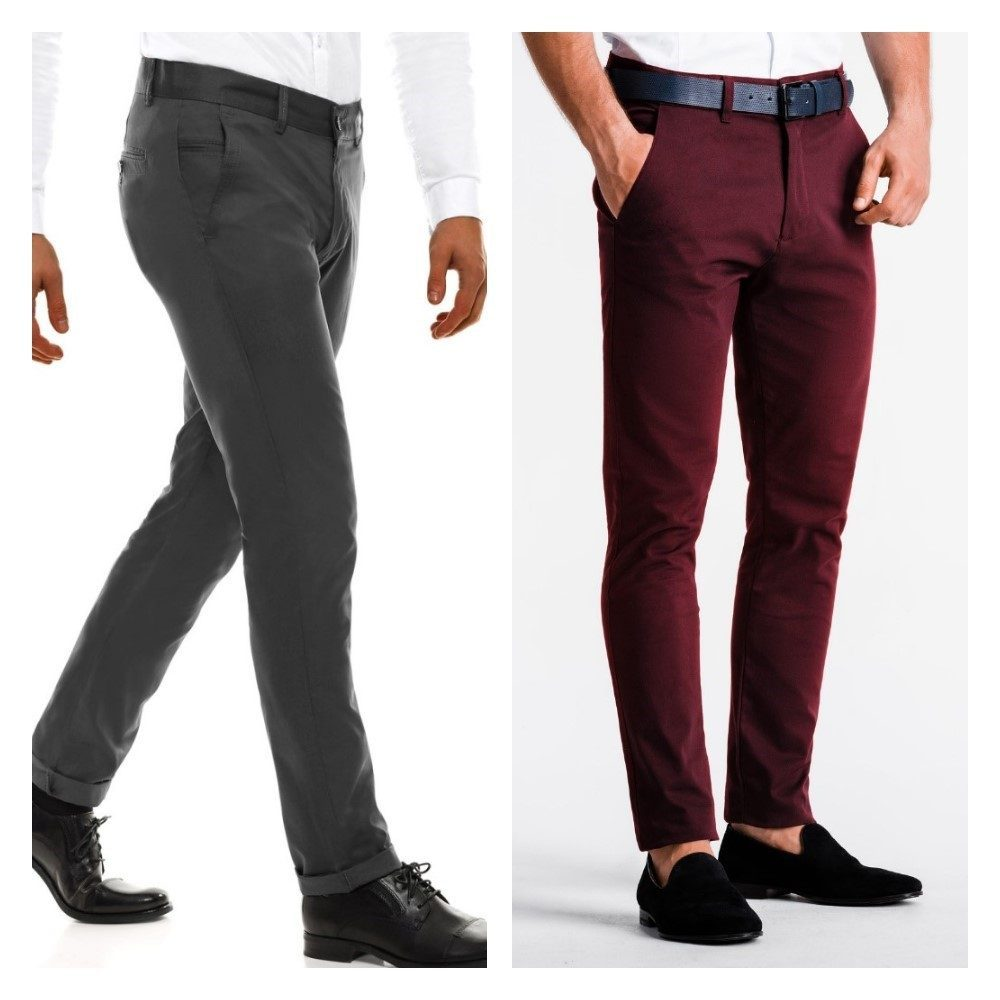 černé pánské kalhoty a bordové pánské chinos kalhoty