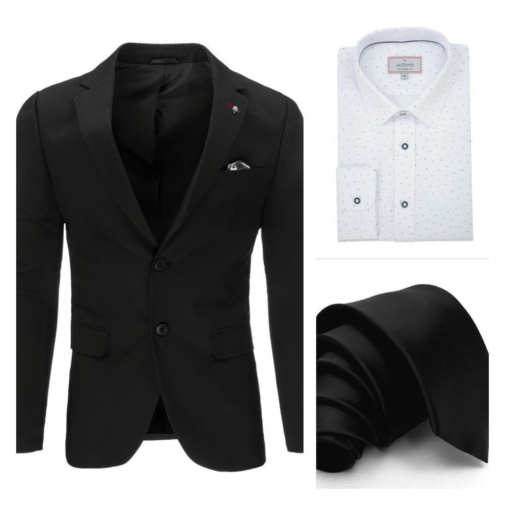 černé pánské sako, černá kravata, bílá košile