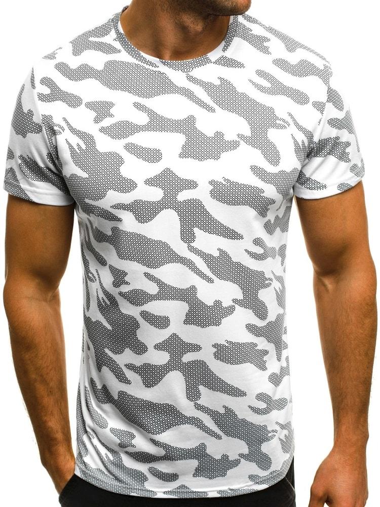 Buďchlap Bílé pánské tričko maskáčové OZONEE JS/SS229