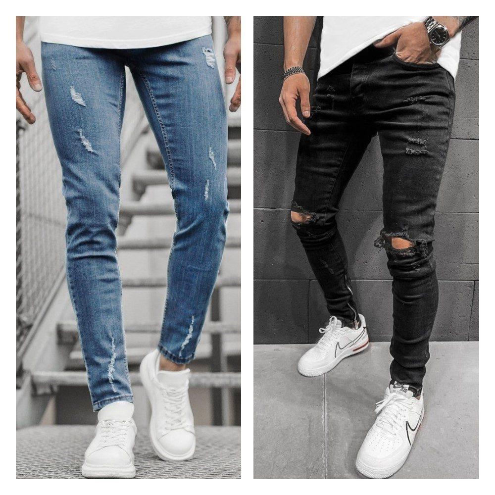 modré a černé roztrhané džíny