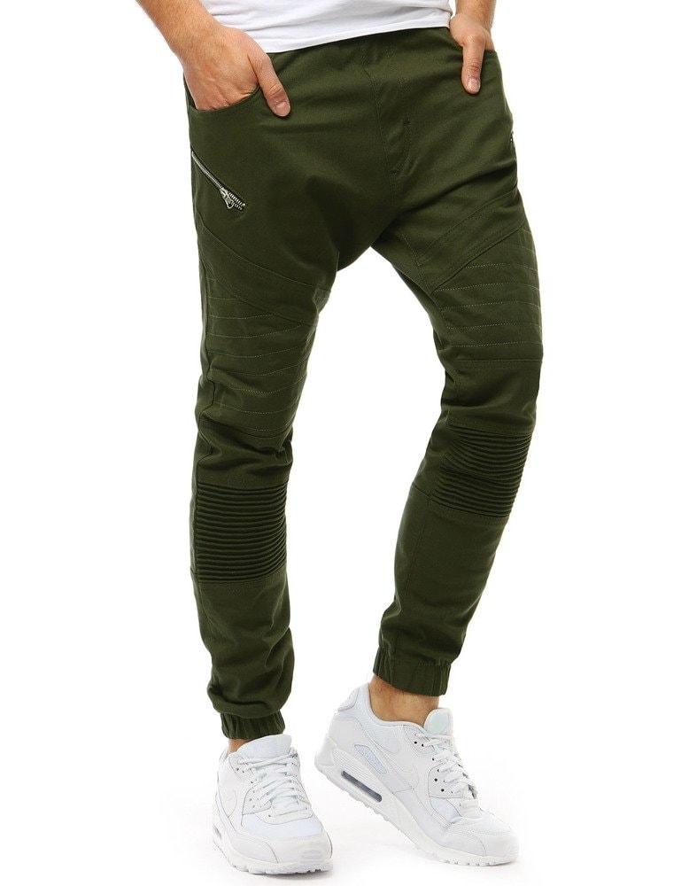 Dstreet Zelené moderní jogger kalhoty - XL