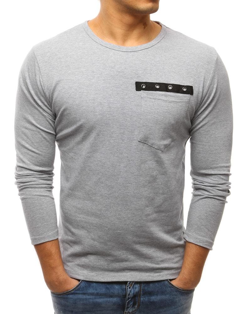 Buďchlap Šedé tričko v módním provedení