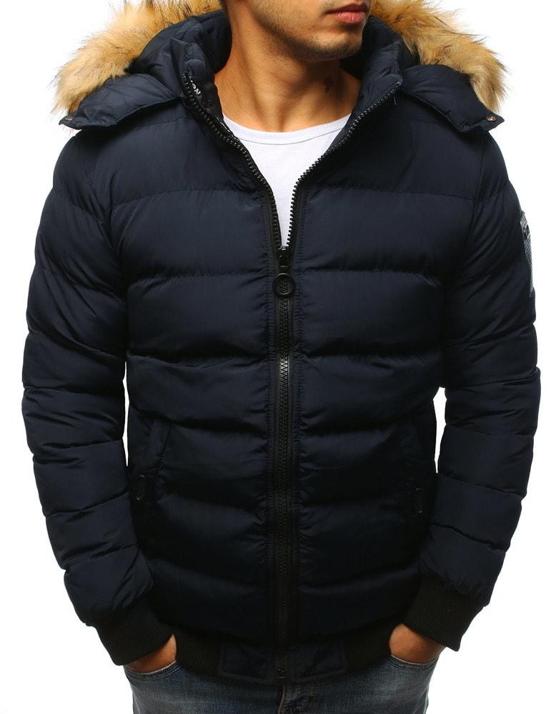 bfc9d4d56a67 Buďchlap Zajímavá tmavě modrá zimní bunda - M