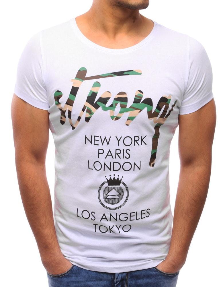 Buďchlap Atraktivní pánské bílé tričko s potiskem STRONG