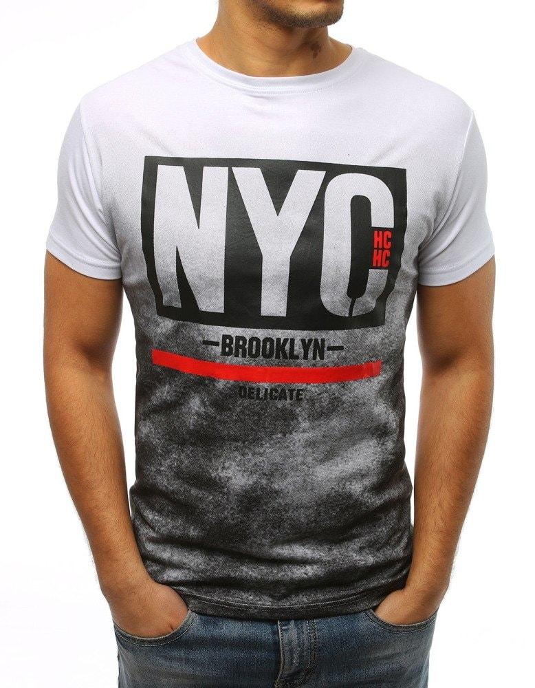 cb9e539ca281 Buďchlap Bílé pánské tričko s potiskem NYC - XXL