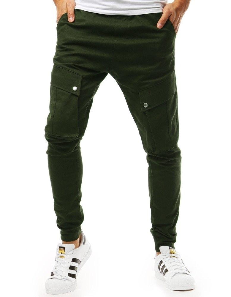 Dstreet Zajímavé zelené jogger kalhoty - XL
