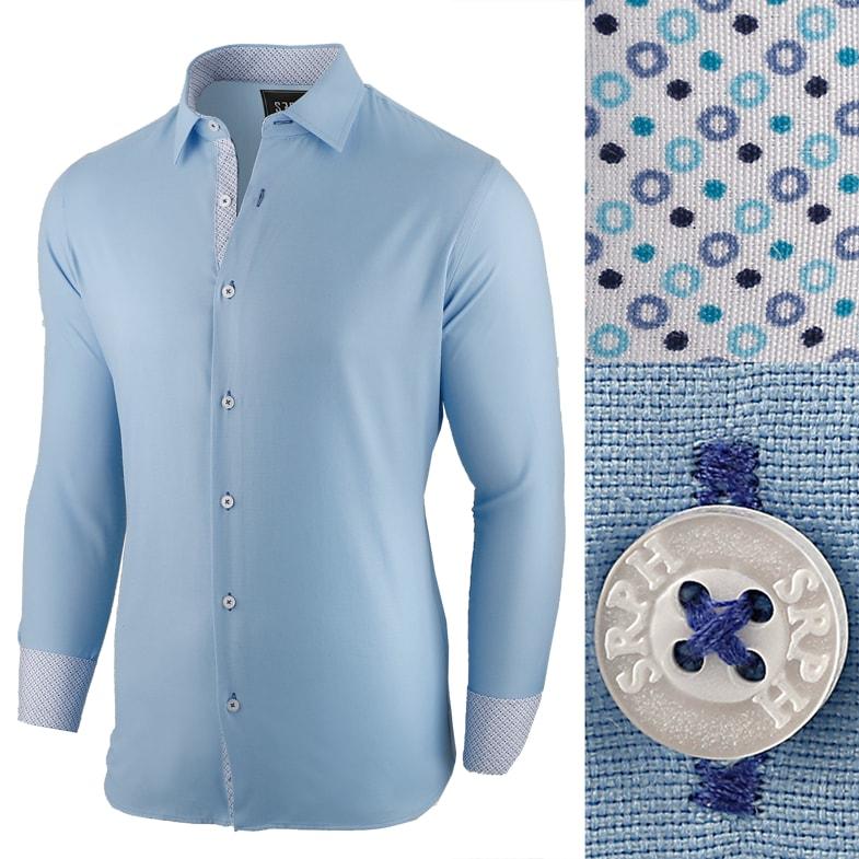 e845deca63bf Seraphstore.com Kvalitní vzorovaná pánská košile modrá - XXXL