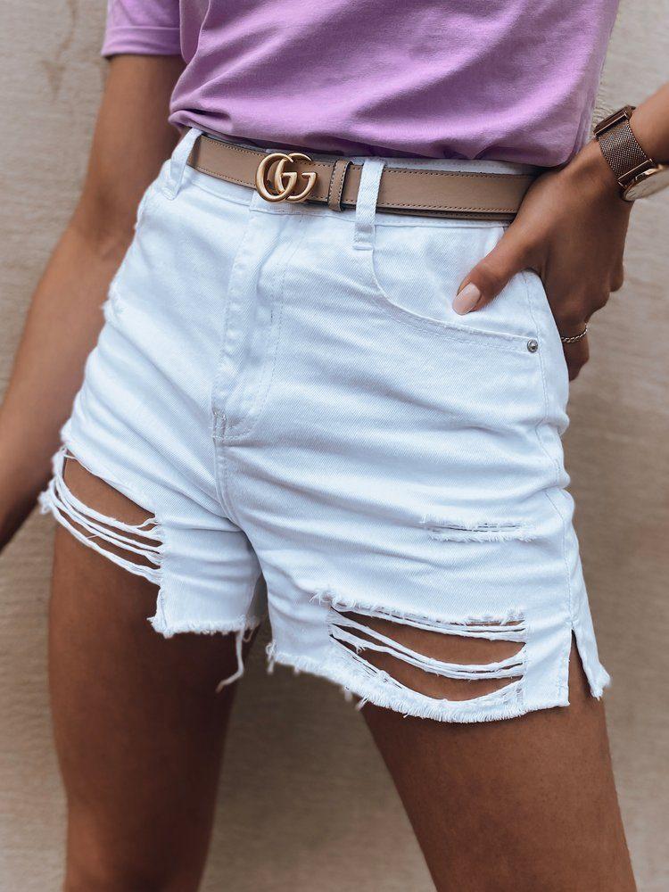 Dstreet Trendové bílé dámské riflové kraťasy Devis