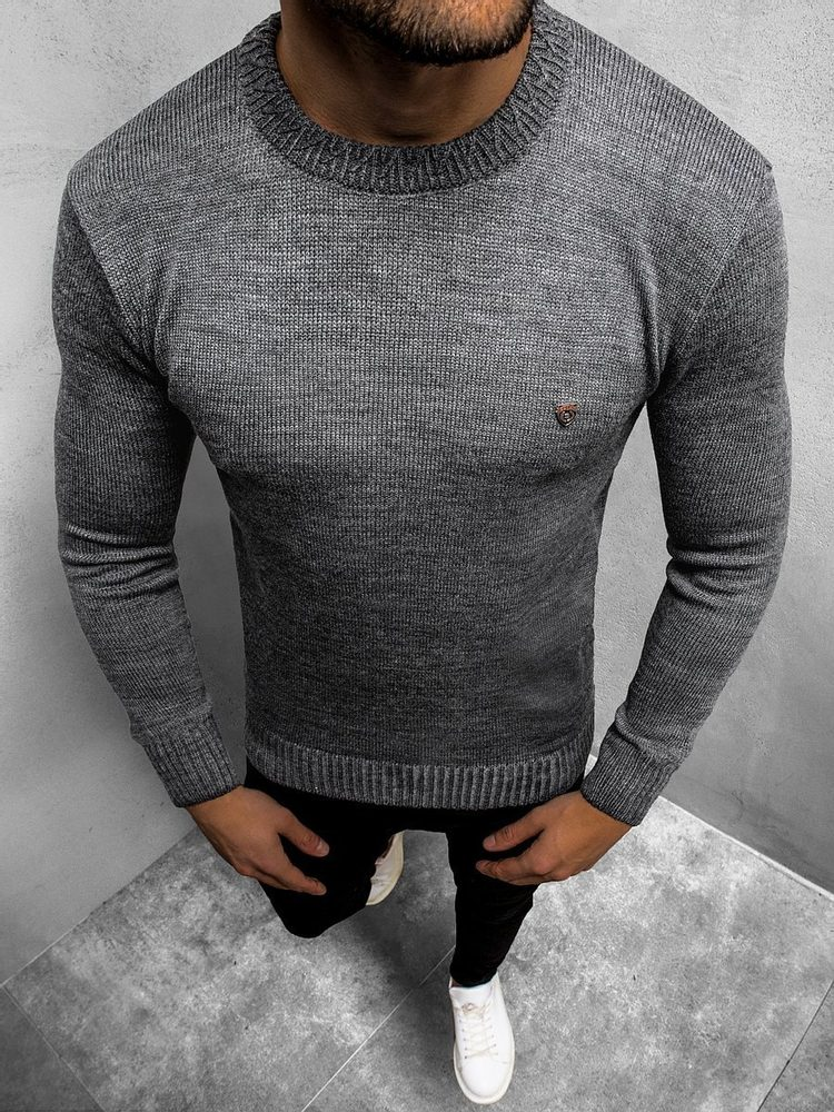 Buďchlap Moderní pánský svetr tmavě šedý O/KS02Z