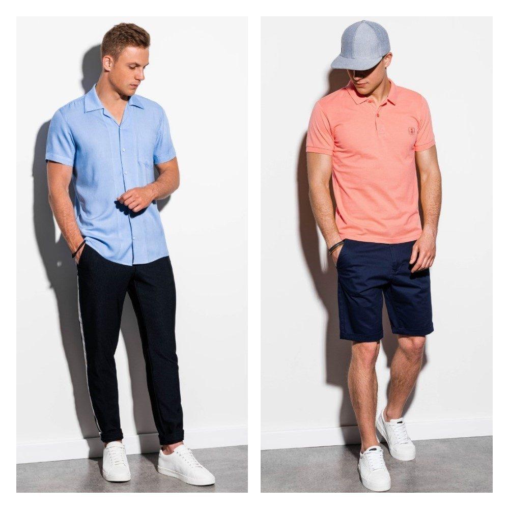 modré pánské chinos kalhoty a krátké modré chinos kalhoty