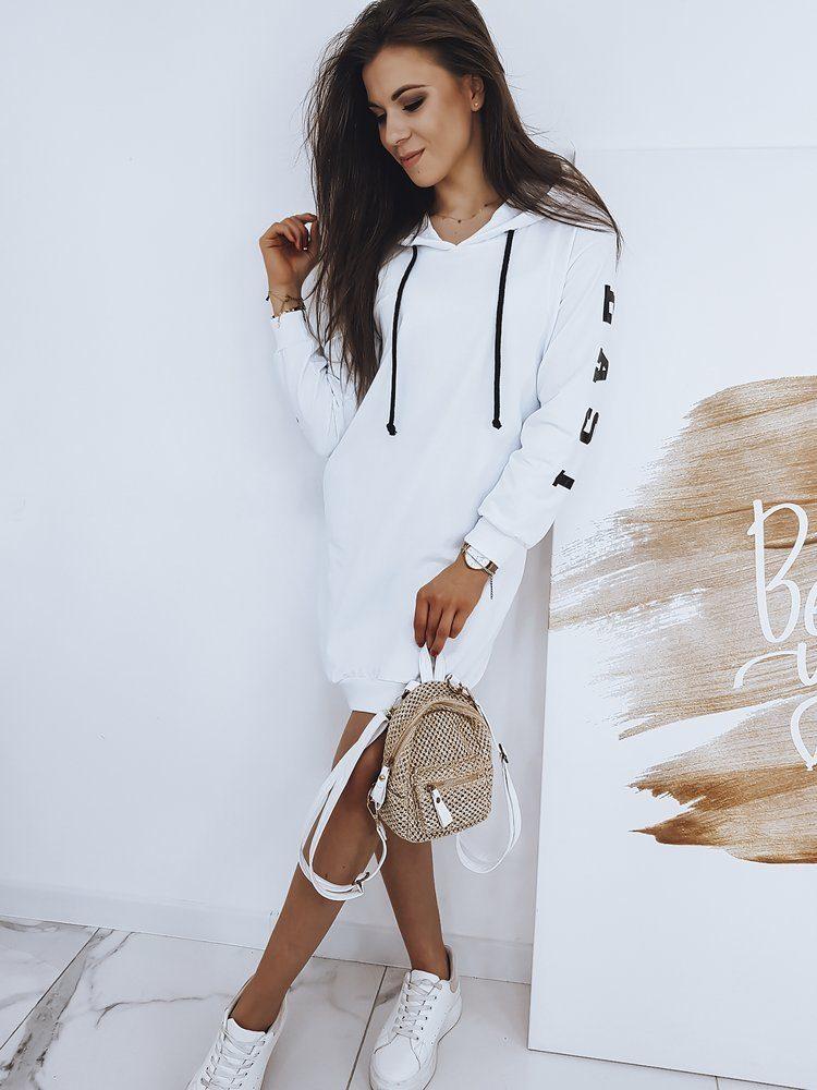 Dstreet Dlouhá dámská mikina Over Long v bílé barvě