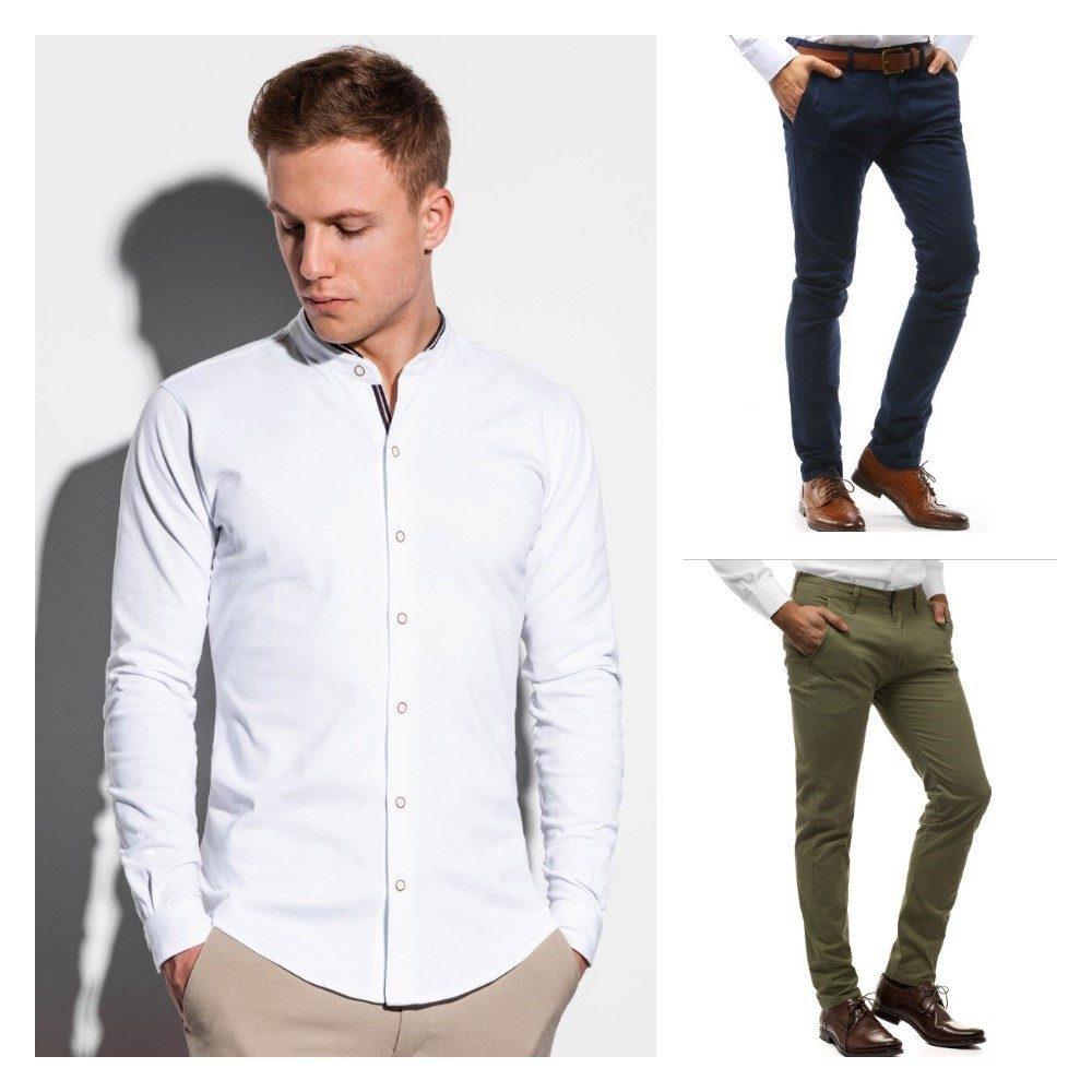 pánský elegantní outfit v bílé košili a s chinos kalhotami