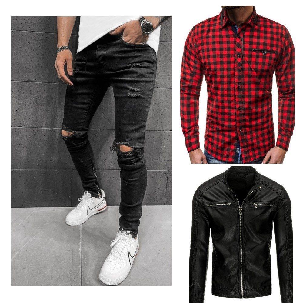 roztrhané džíny, černá kožená bunda a červeno černá kostkovaná košile