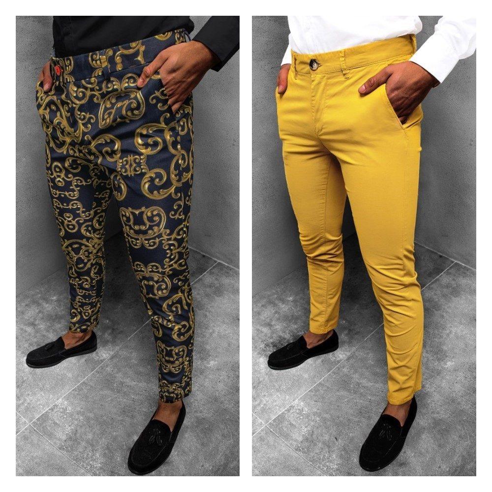 pánské žluté chinos kalhoty a extravagantní pánské chinos kalhoty