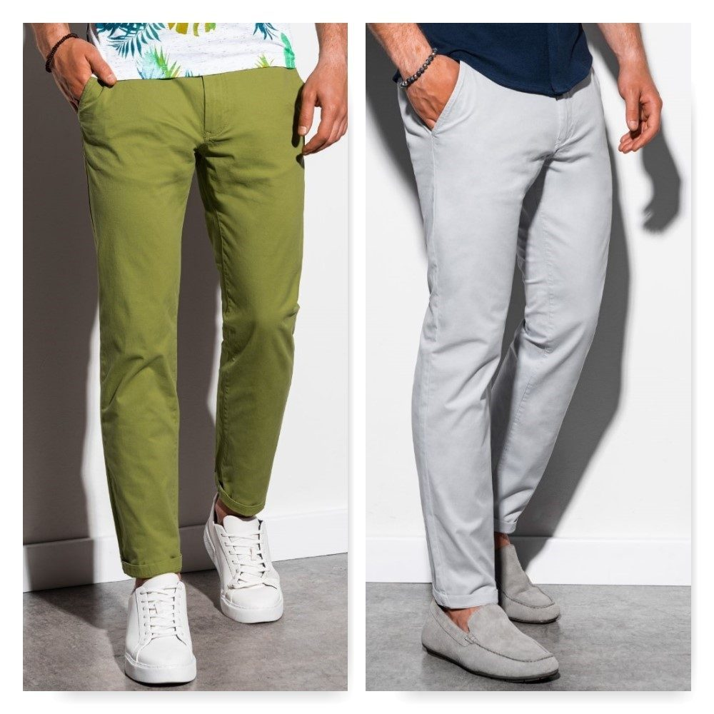 zelené pánské chinos kalhoty a šedé pánské chinos kalhoty