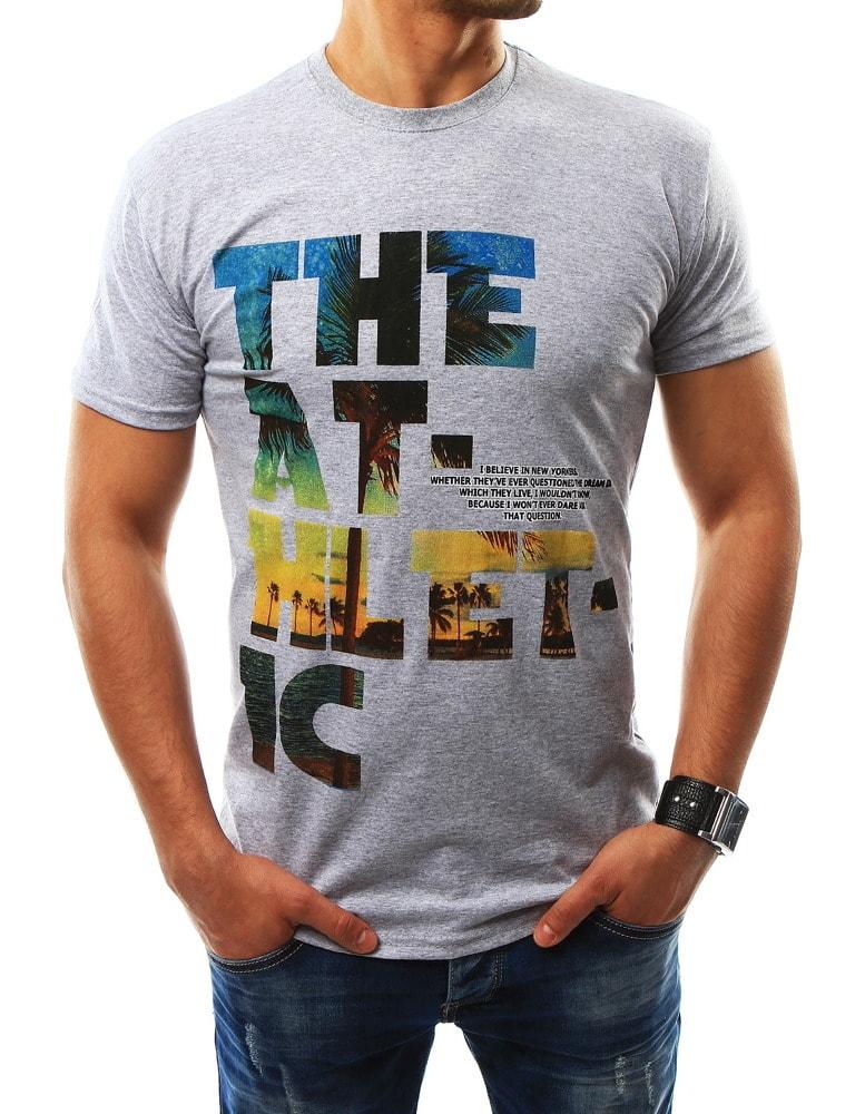 Buďchlap Sportovní šedé pánské tričko s potiskem