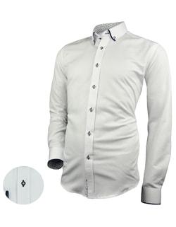 c70ec97e97d4 Skladem Bílá pánská košile se zajímavými kontrastními prvky ...