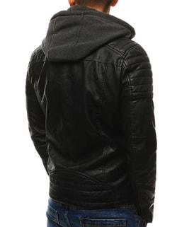 39572ee47c81 ... Stylová černá koženková bunda s kapucí