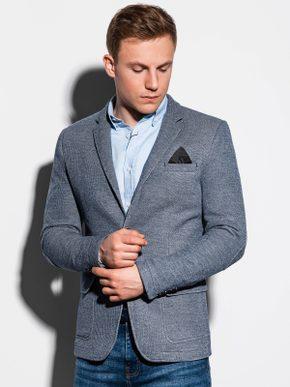 pánský sportovně elegantní outfit - šedé sako, světlemodrá košile, modré džíny