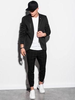pánský outfit - černé sportovní sako, bílé tričko, černé kárované kalhoty