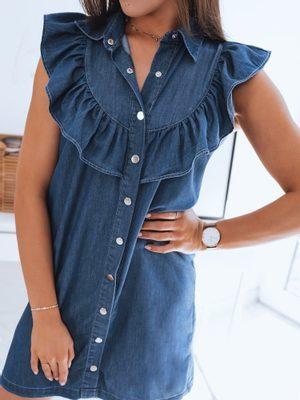 atraktivní modré džínové dámské šaty bez rukávů