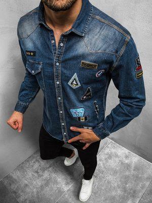 džínová pánská košile v modré barvě s nášivkami