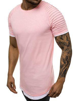 trendy prodloužené růžové pánské tričko