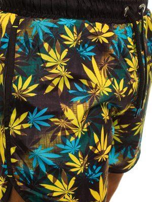 pánské plavky s tyrkysovými a žlutými listy