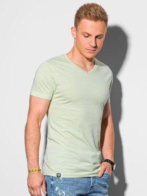 pánské tričko s véčkovým výstřihem limetkové barvy