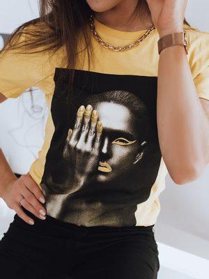 žluté dámské tričko s uměleckou černým potiskem